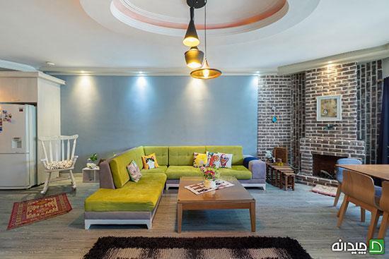 دکوراسیون خانه شقایق با دیوار های آجری