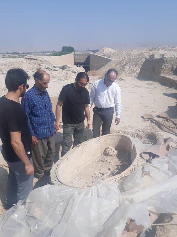 تصاویر انتقال آخرین تابوت باستانی در خوزستان ، سرانجام فصل کاوش در جوبجی