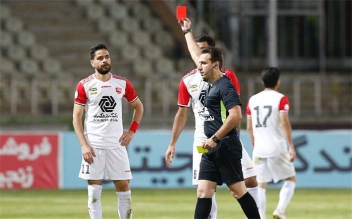 درخواست رسمی پرسپولیس به فدراسیون فوتبال: کارت قرمز کامیابی نیا بخشیده شود